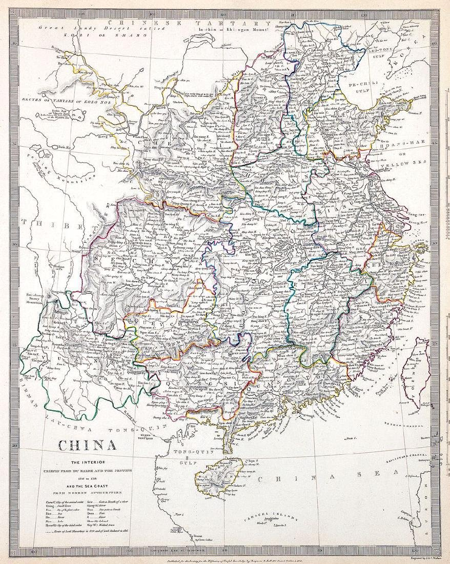 Chapman & Hall / SDUK: Antique Map of China, 1843