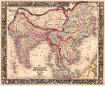 Map of Hindoostan, Farther India, China, and Tibet 1861