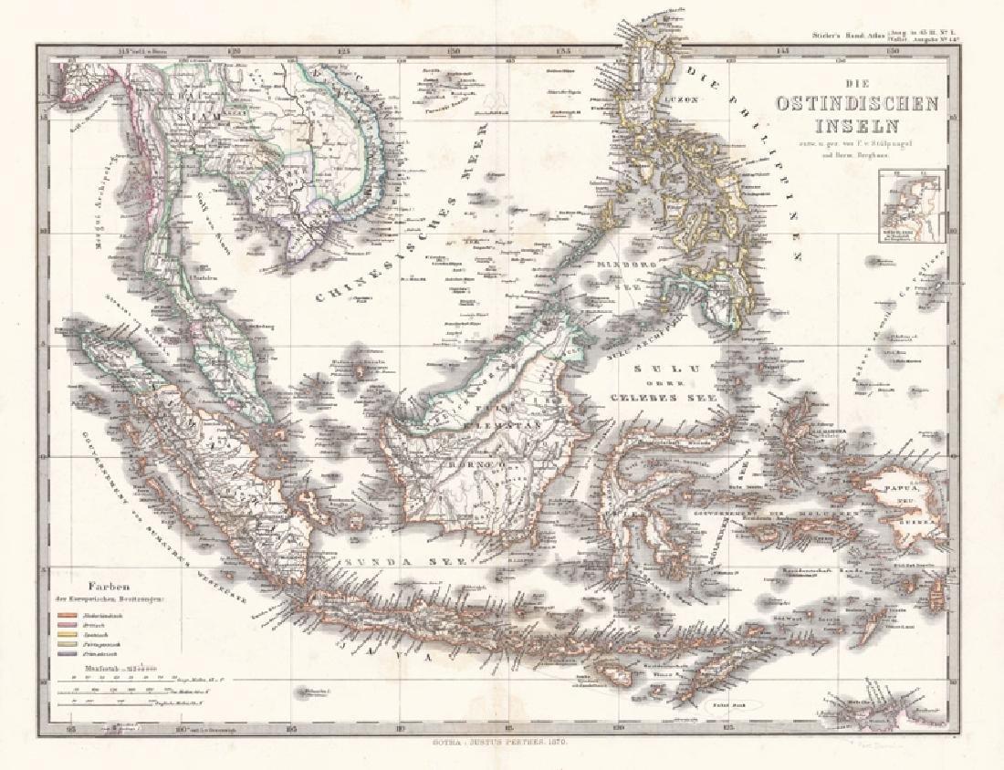 Berghaus: Antique Map Die Ostindien Inseln 1870