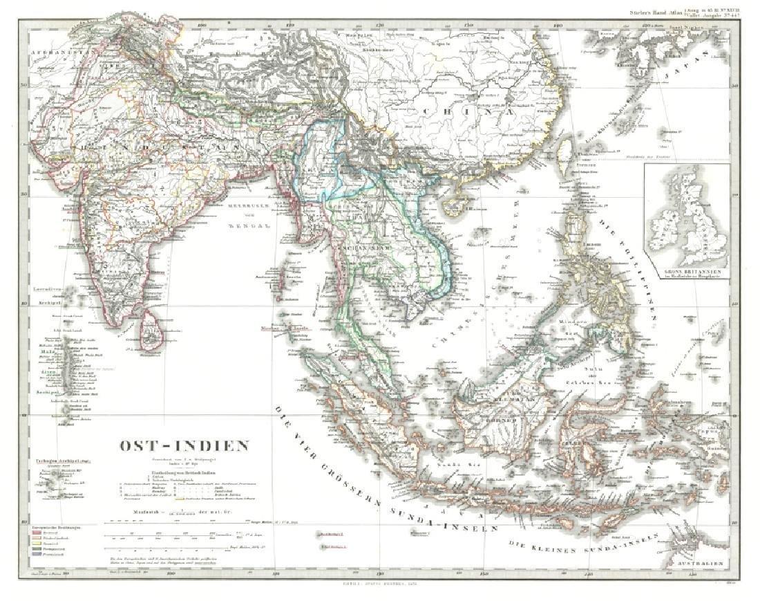 Antique Map Ost-Indien, 1870