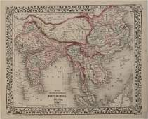 1878 Mitchell Map of China, India and SouthEast Asia