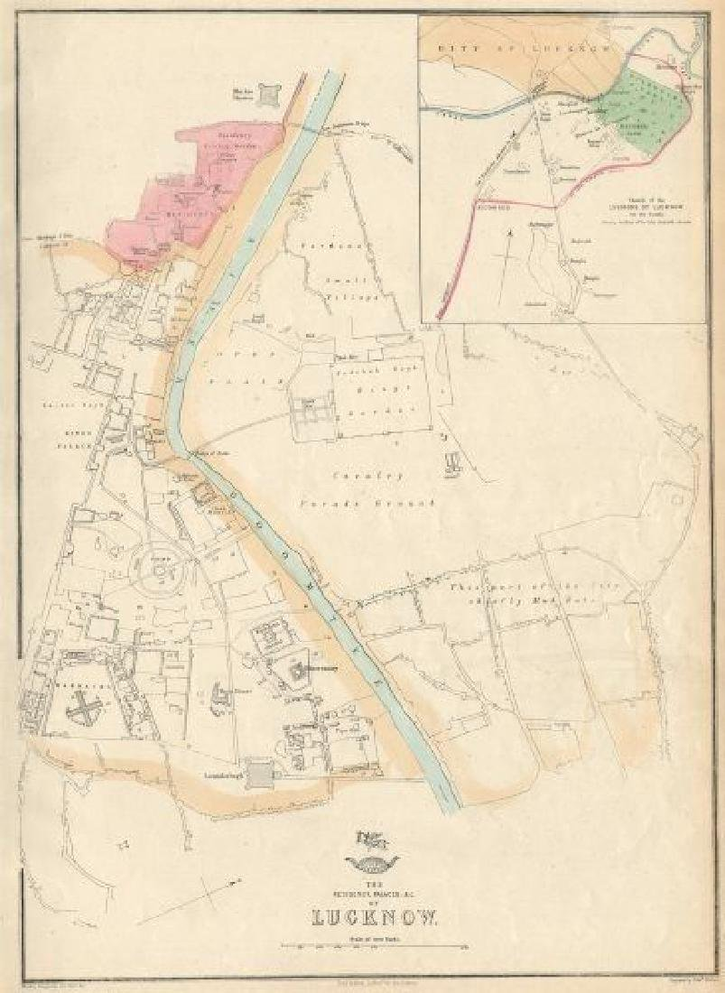 Weller: Antique Map of Lucknow Residency & Palaces