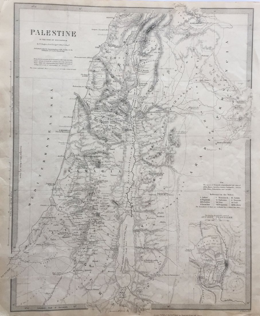 Chapman & Hall / SDUK: Map of Ancient Palestine, 1843