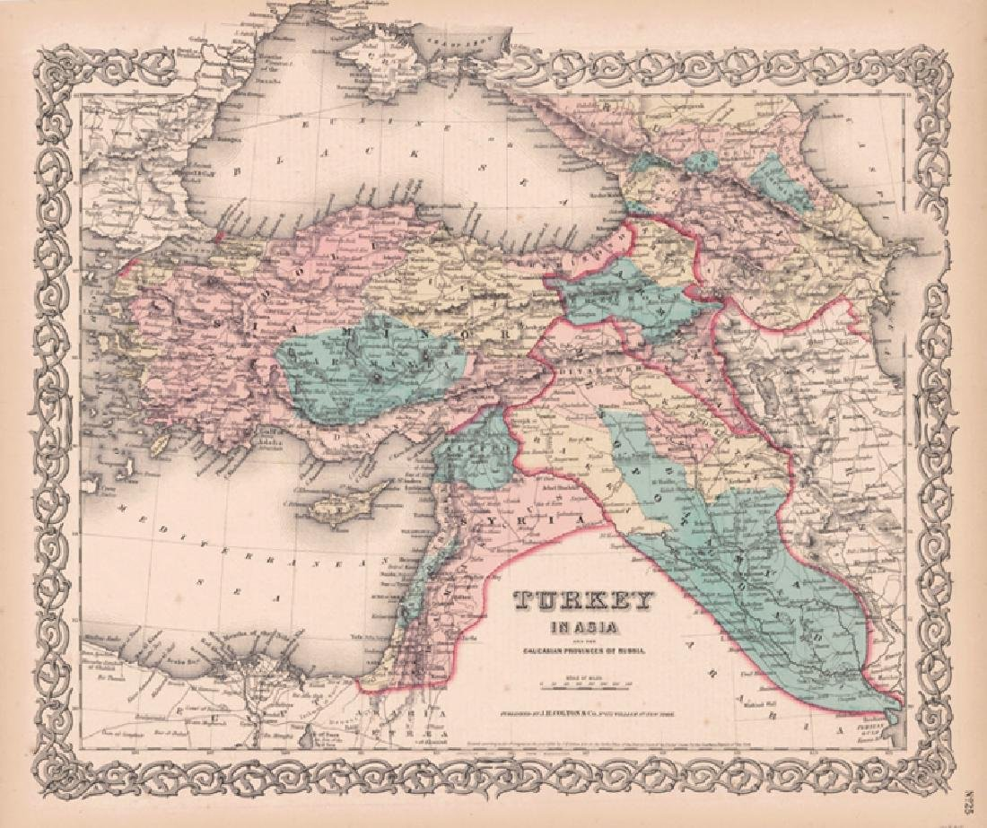 Colton: Antique Map of Turkey in Europe, 1855