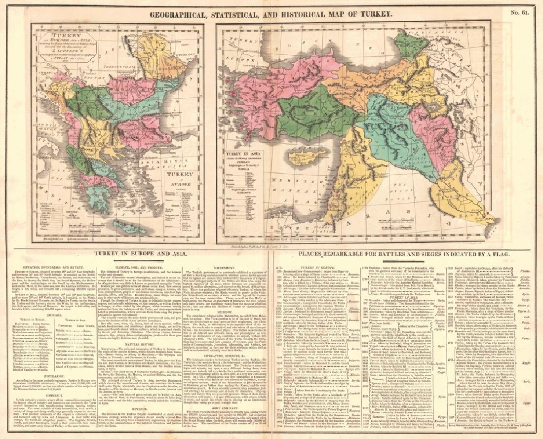 Geographical and Statistical Map of Turkey, 1820