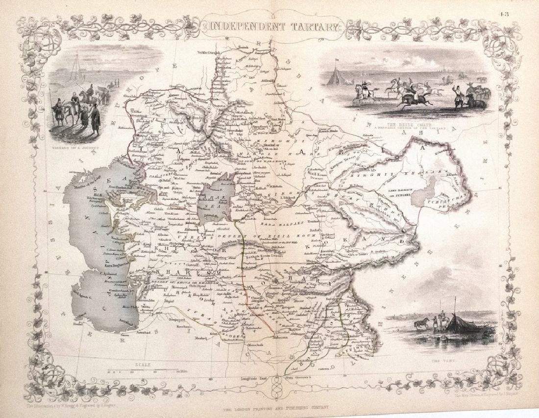 1851 Tallis Antique Map of Tartary