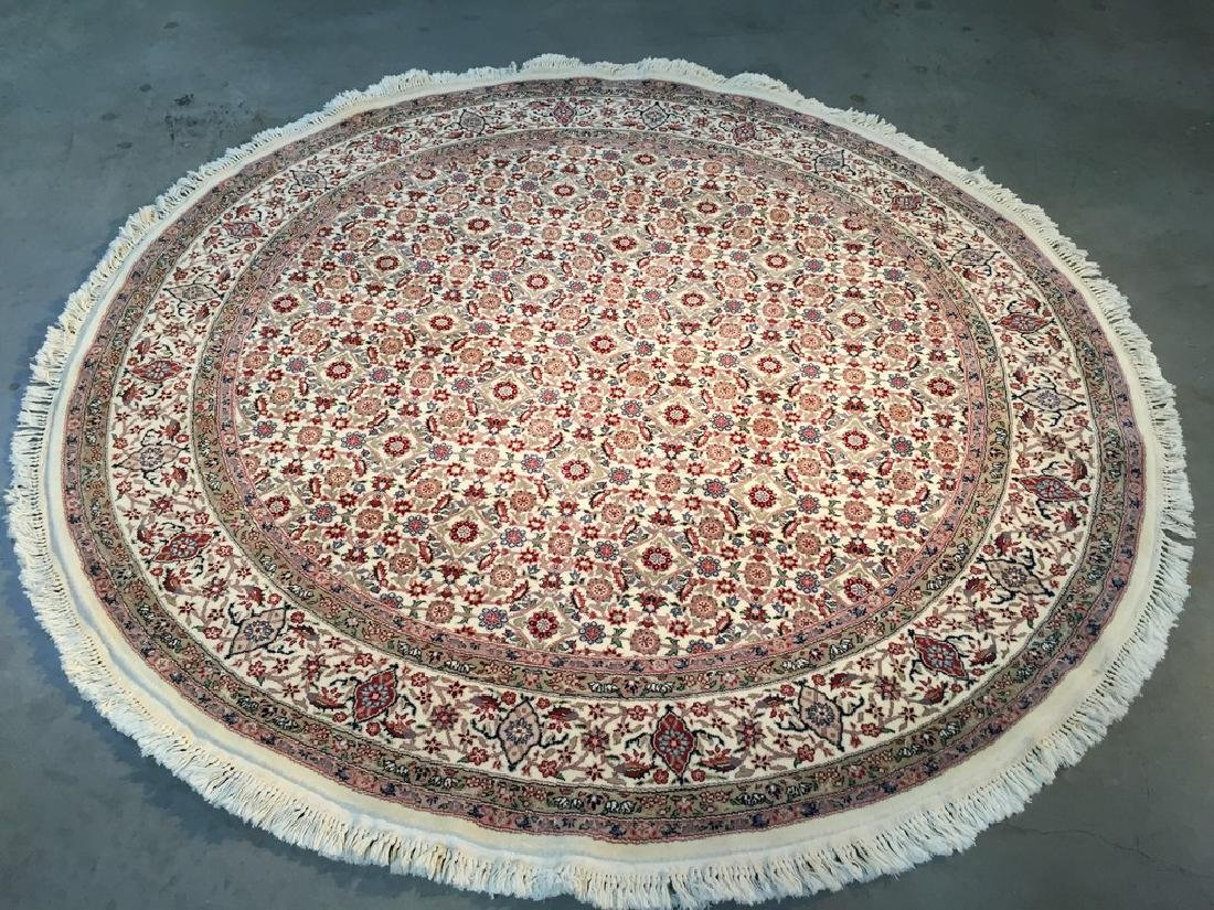 Detailed Tabriz Mahi Design Round Rug 6x6