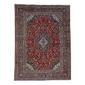 Hand-Knotted Semi Antique Persian Kashan Rug 9.9x12.10