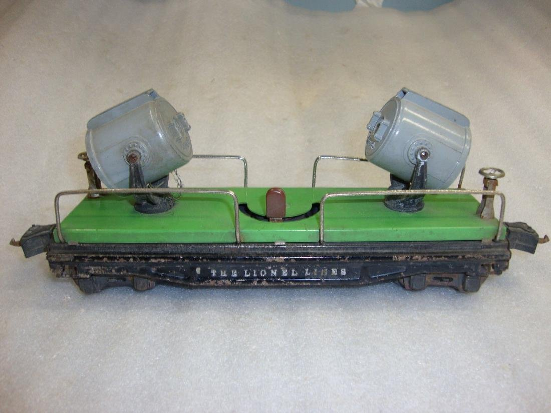 "Lionel Prewar ""O"" 820 Green Searchlight Car w/Die-Cast"