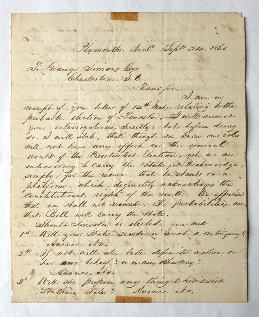 If Abraham Lincoln is Elected Letter September 24, 1860
