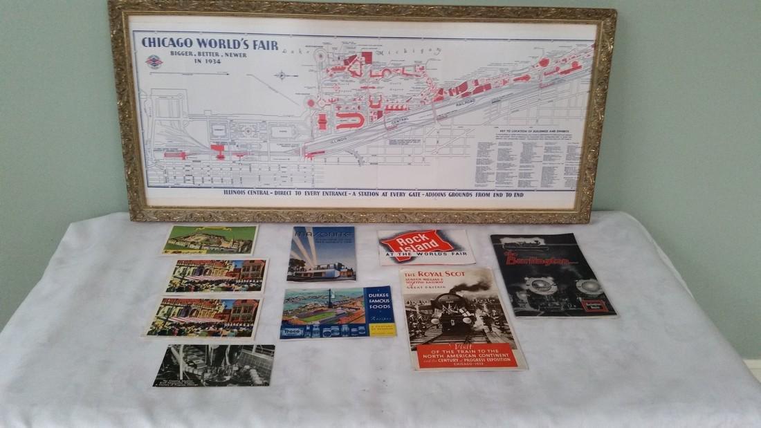 Vintage Illinois Central Chicago World's Fair Map