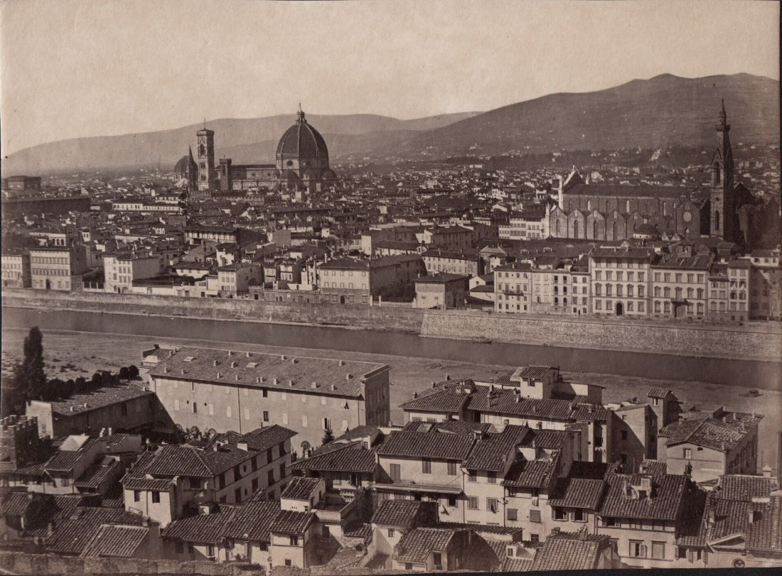 Panoramic View of Florence 1880s Albumen Photograph