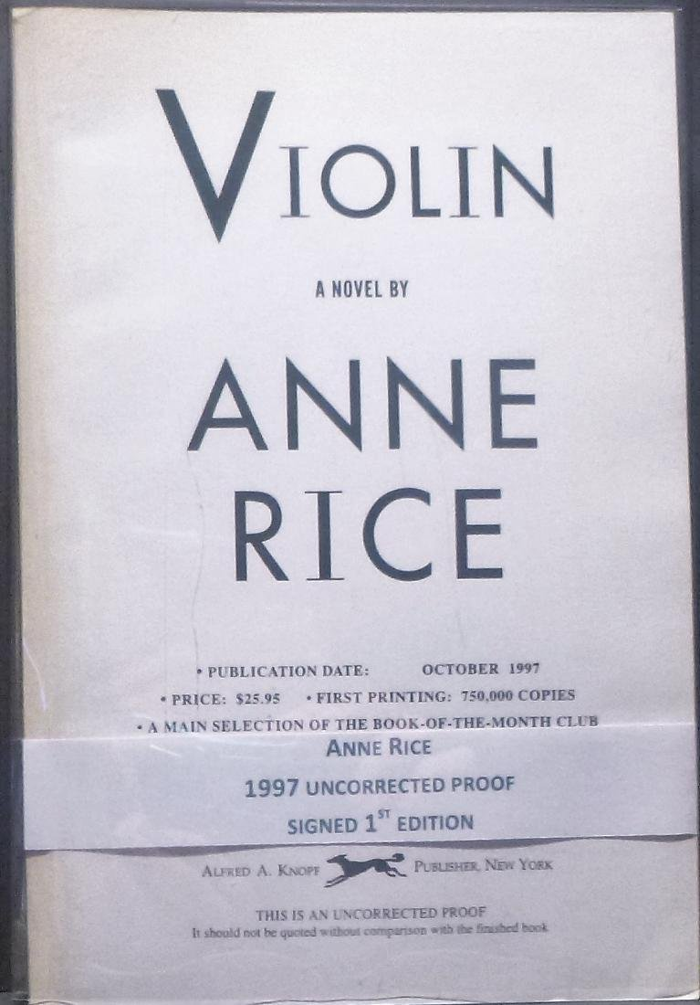 Violin Anne Rice Signed First Edition 1997