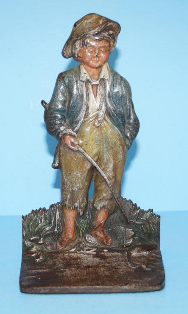 Huck Finn Fishing Cast Iron Doorstop