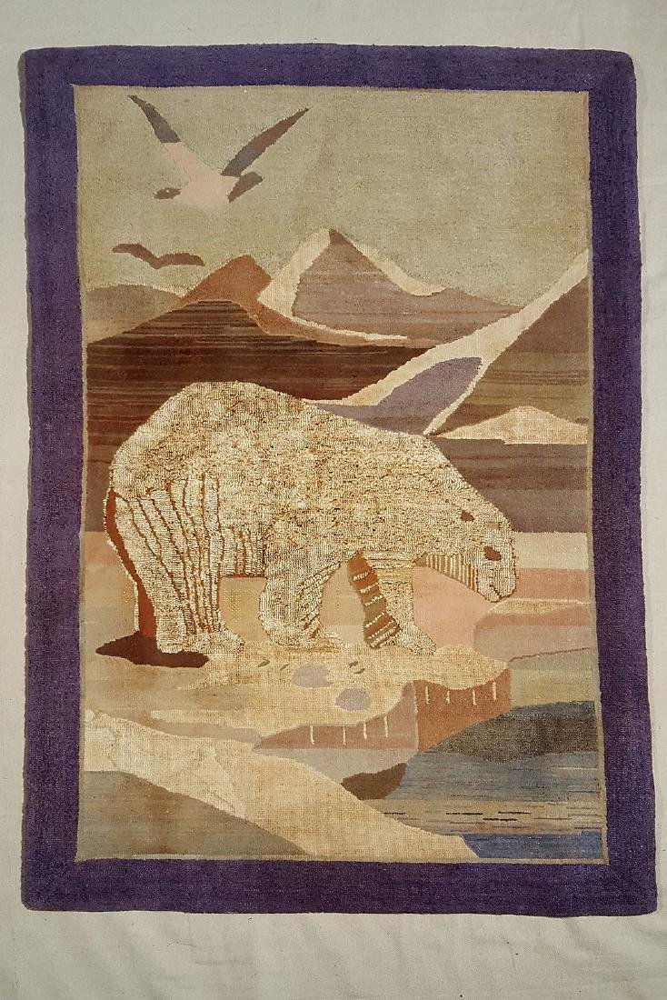 Early Grenfell Community Polar Bear Hooked Rug C 1920's
