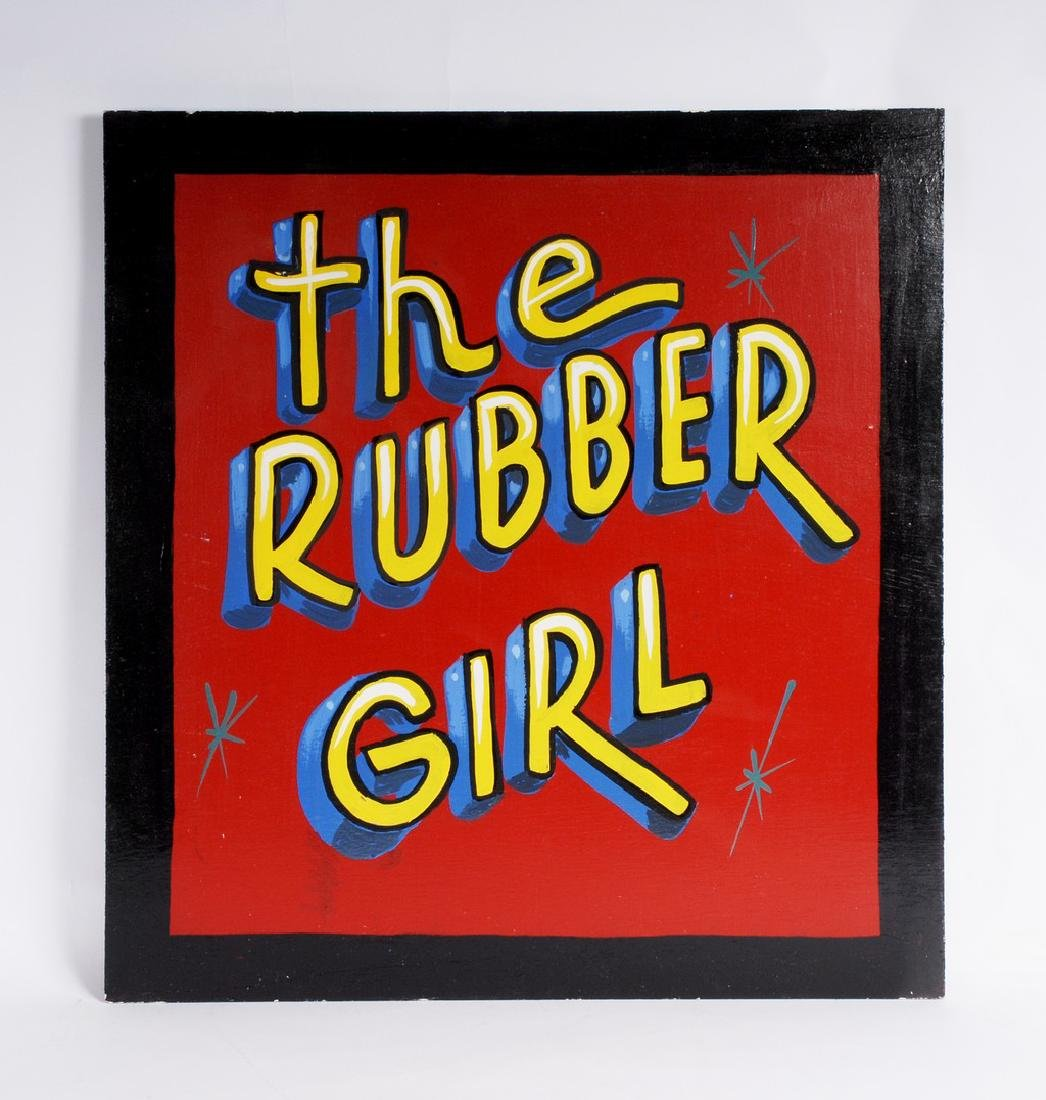 The Rubber Girl Circus Sideshow Sign by Jim Hand