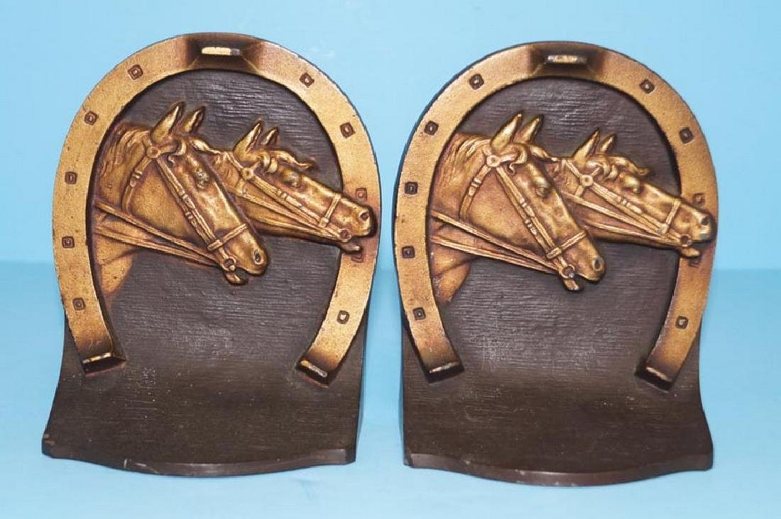 Horses in Horseshoe Cast Iron Bookends