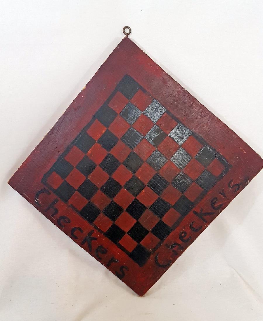 Single Board Vermont Folky Checkers Board Ca 1930