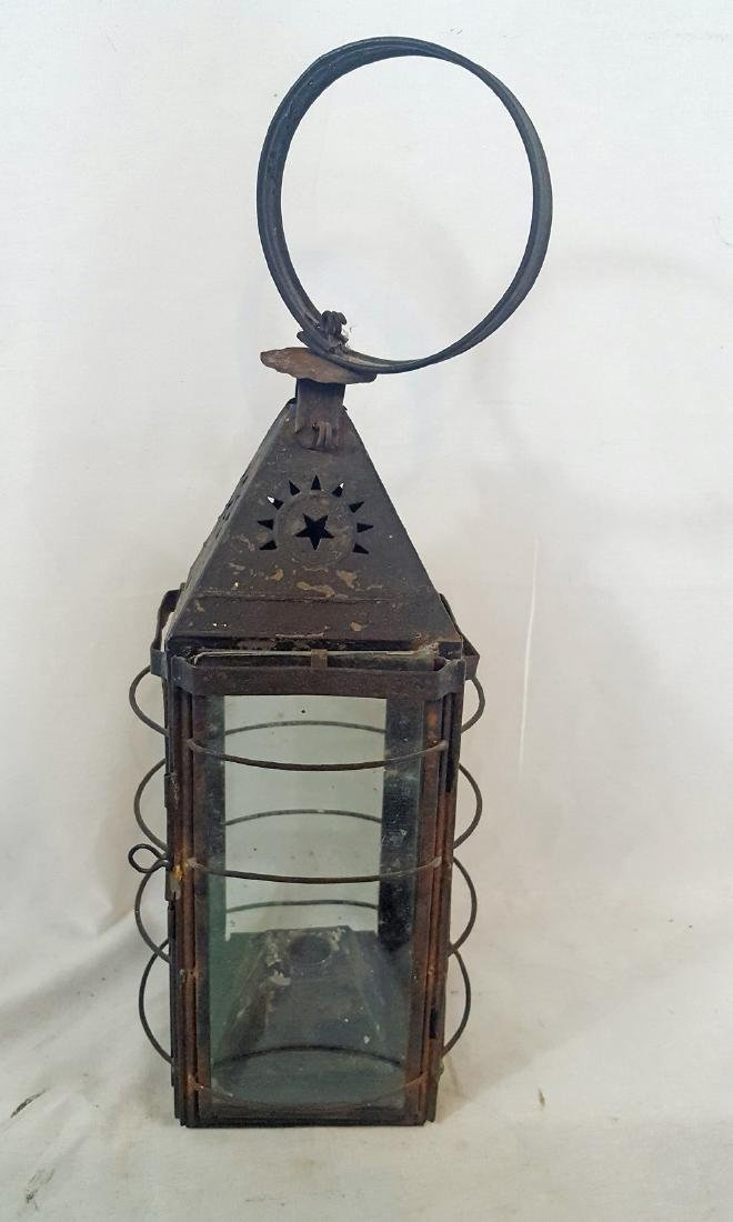 Early Tin and Wire Punched Star Candle Lantern Ca 1860