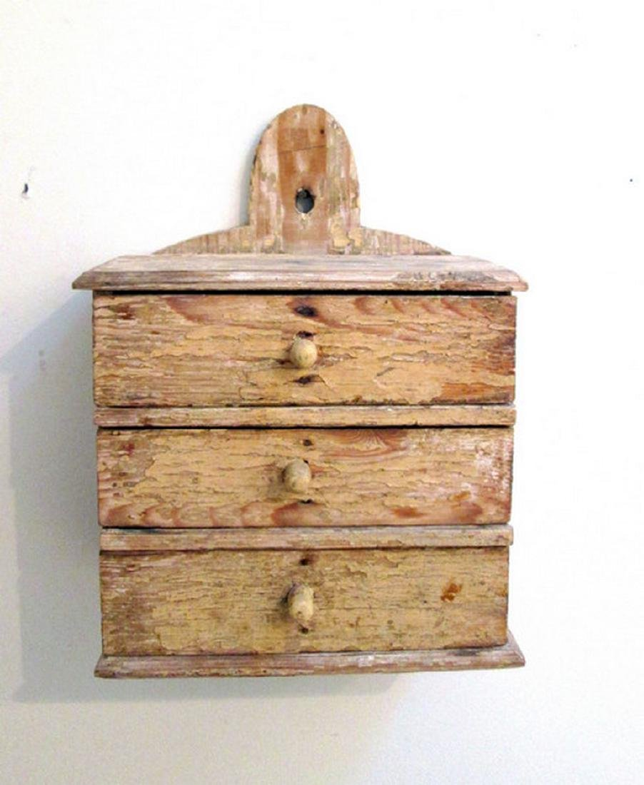 Early Painted Hanging Spice Chest