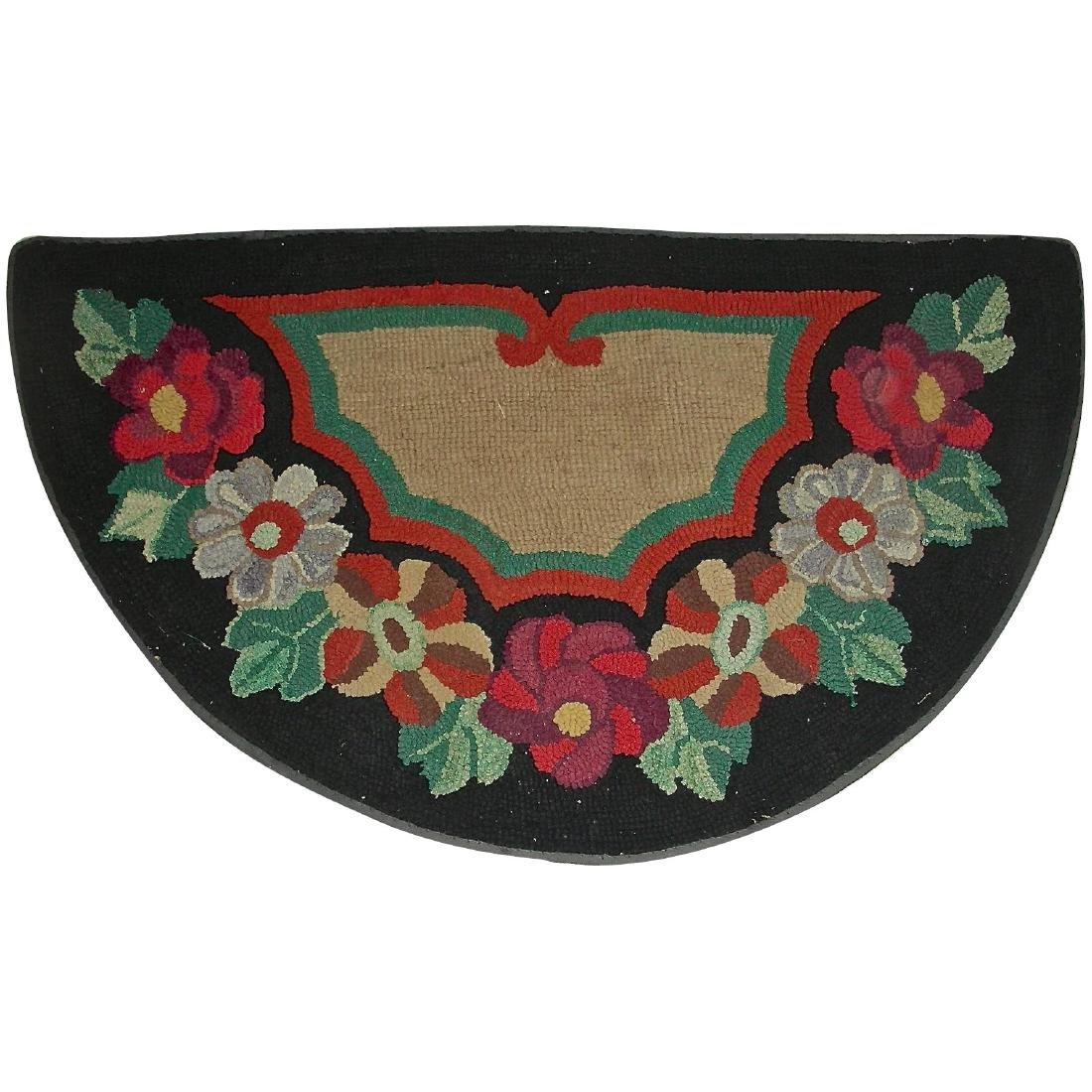 1/2 Round Floral Hooked Rug, c. 1930's
