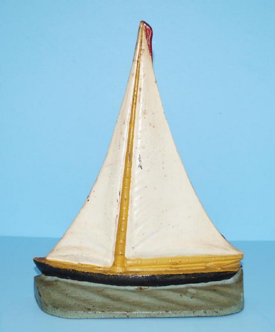 Antique Sailboat Cast Iron Doorstop