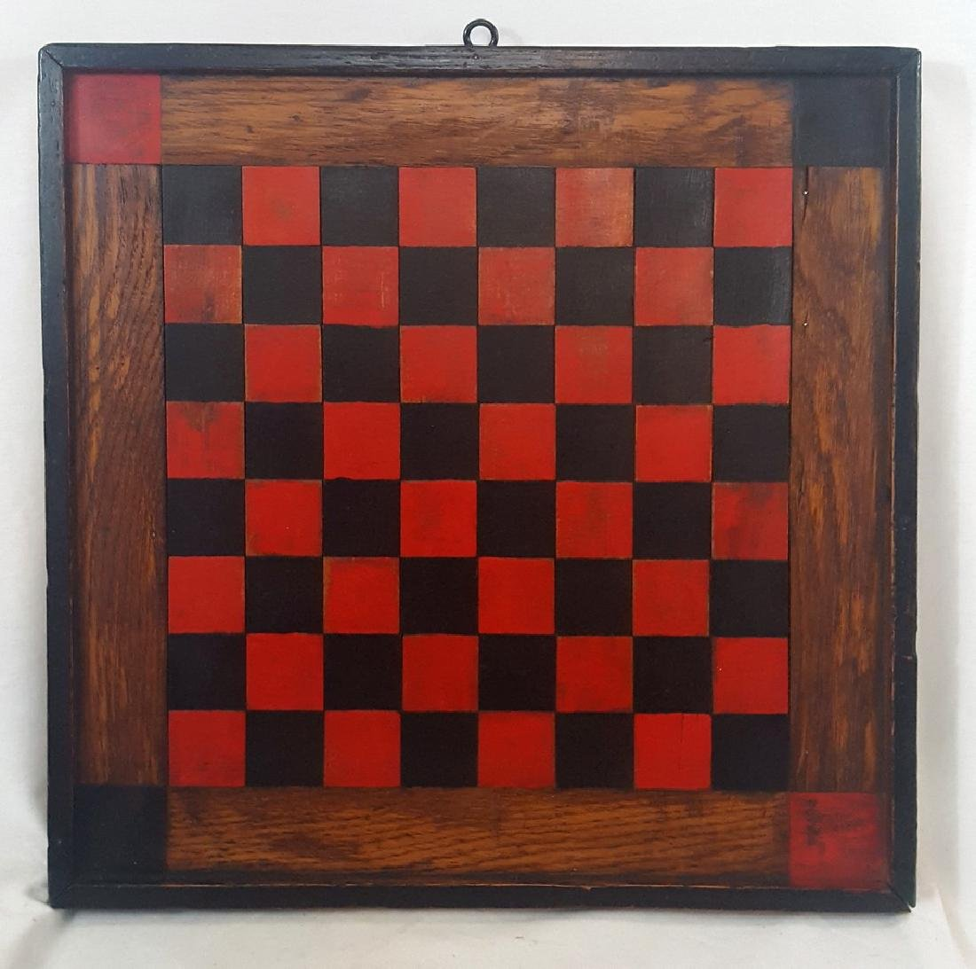 Marquetry and Painted Checkers Board Ca 1900-1920