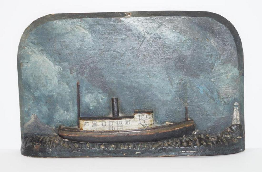 Antique Folk Art Ship Diorama w/ Lighthouse