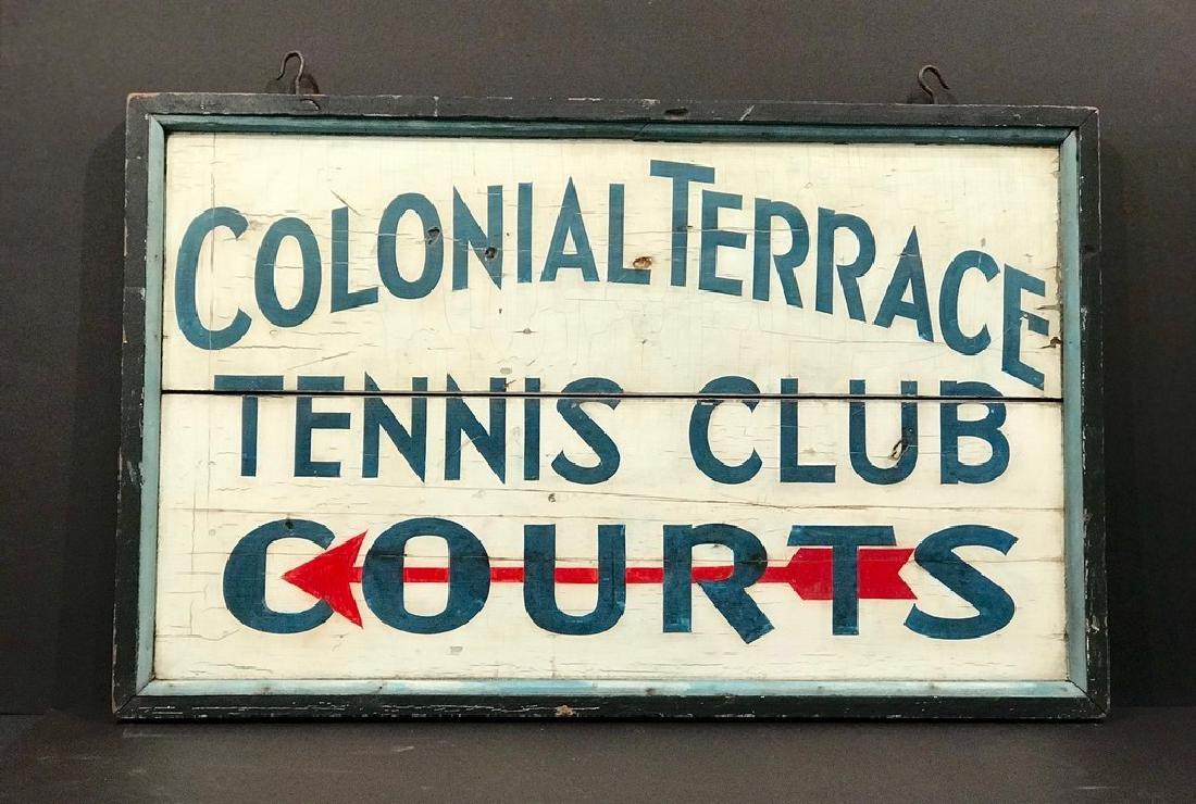 Colonial Terrace Tennis Club Sign, C. 1940