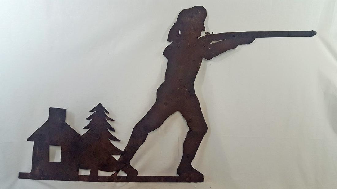 Early Pioneer Hunter Sheet Iron Weathervane C 1850-1870