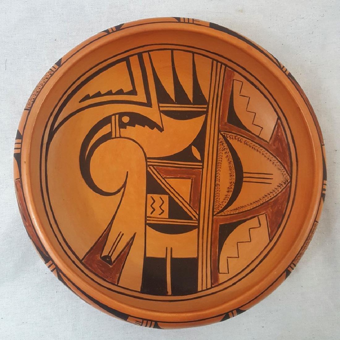 Hopi Pueblo Bowl With Bird and Bug Motif Ca 1950's