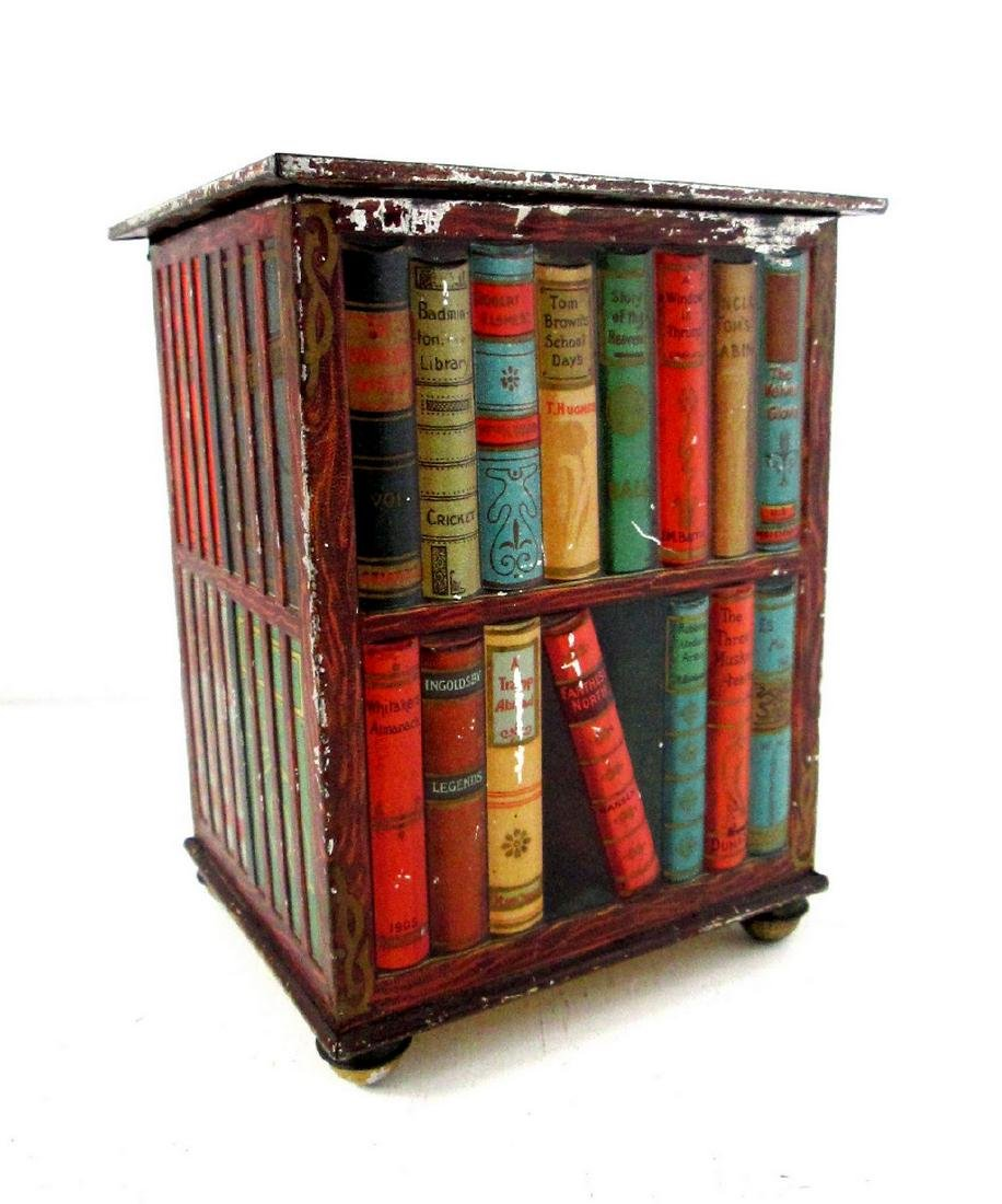 "Early ""Bookcase"" Biscuits Tin"
