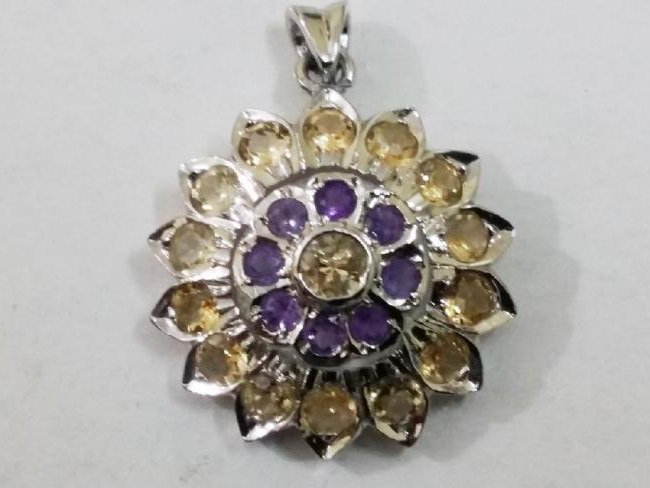 925 Silver Pendant with Natural Citrine and Amethyst