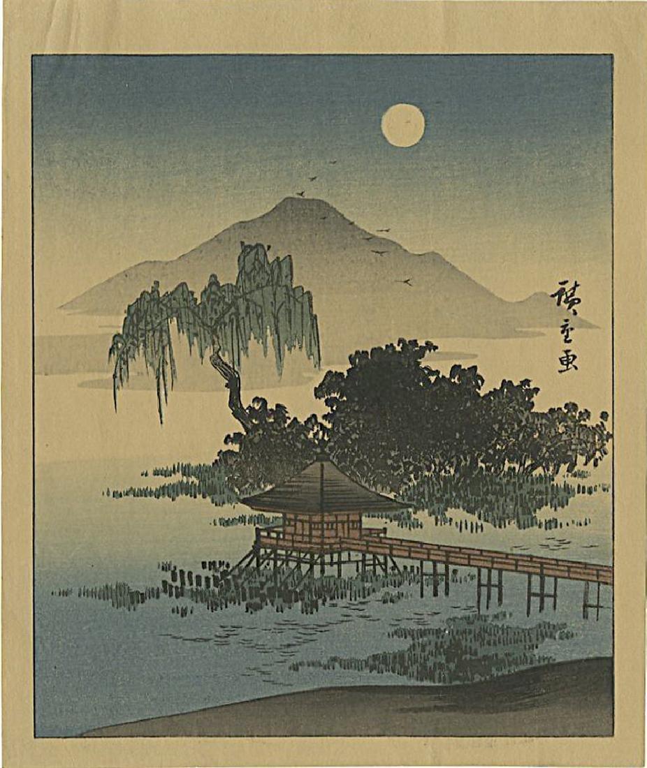 Ando Hiroshige Woodblock Ukimi Temple, Lake Biwa