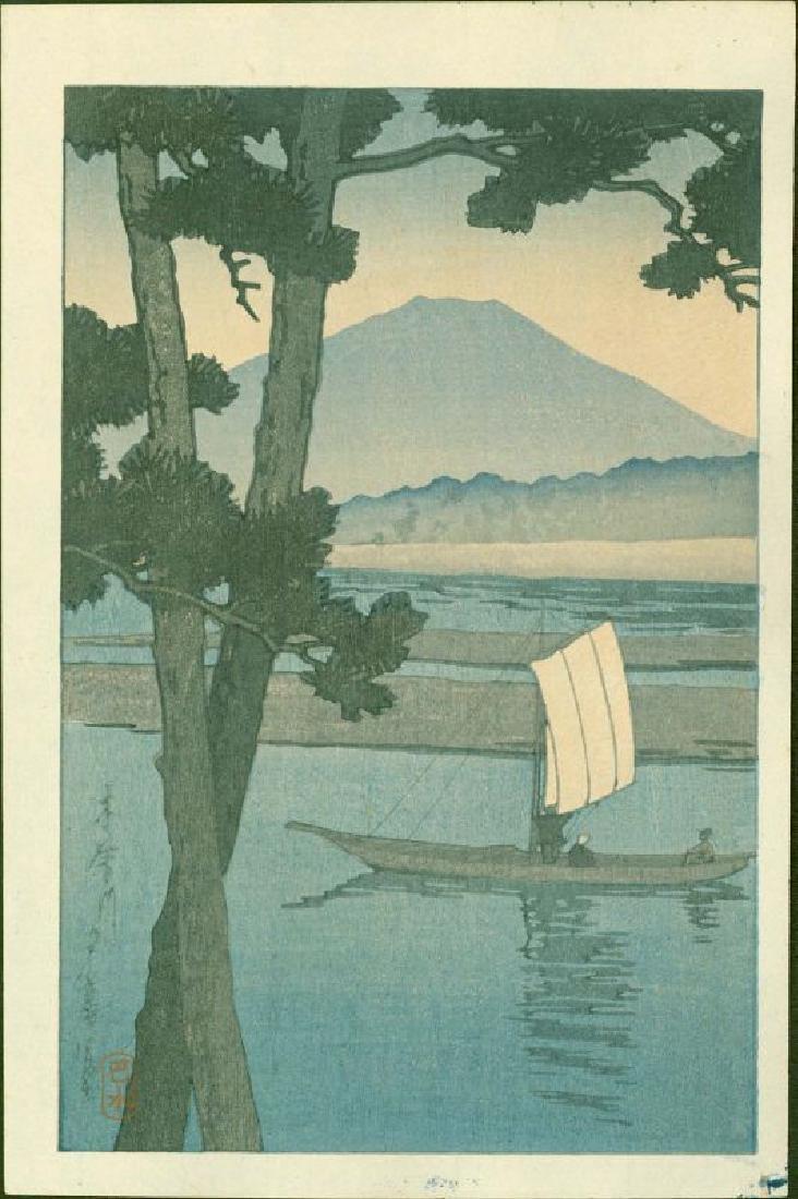 Kawase Hasui Woodblock Fuji and Sailboat