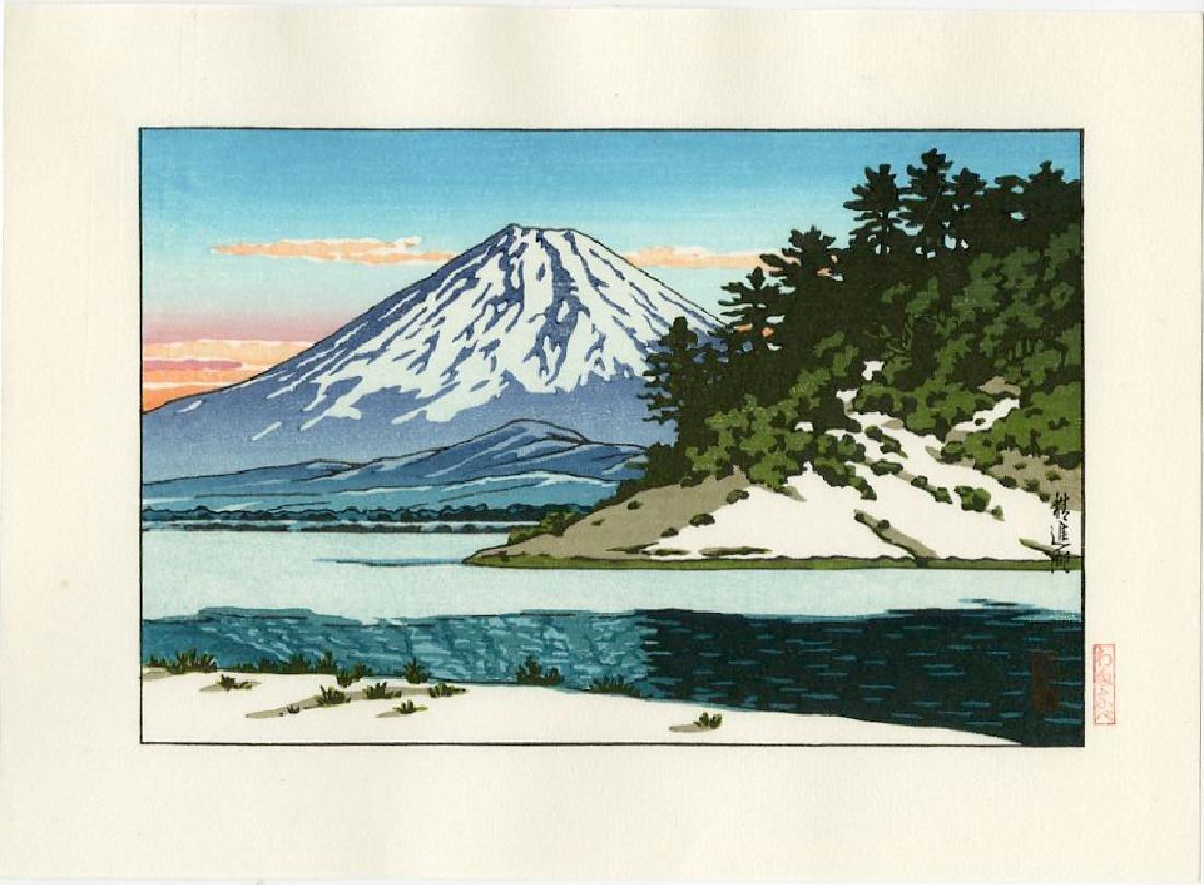 Kawase Hasui Woodblock Mt. Fuji and Lake Shoji