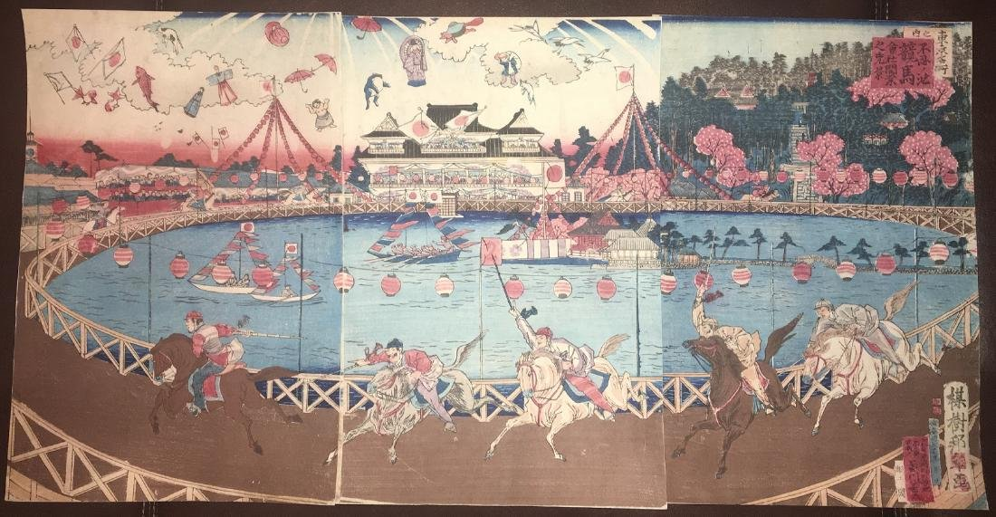 Utagawa School Woodblock Triptych Horse Track Shinobazu