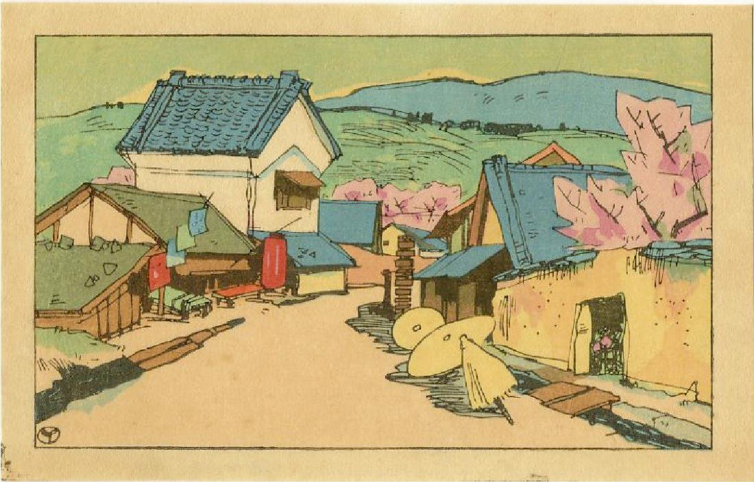 Yumeji Takehisa Woodblock Village Scene