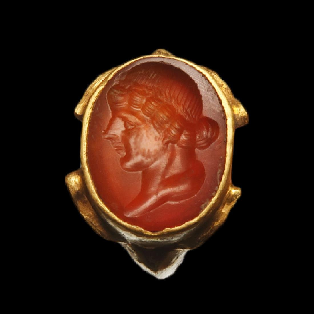 Cornelian Intaglio, Lady Bust in 19th Century Gold Ring