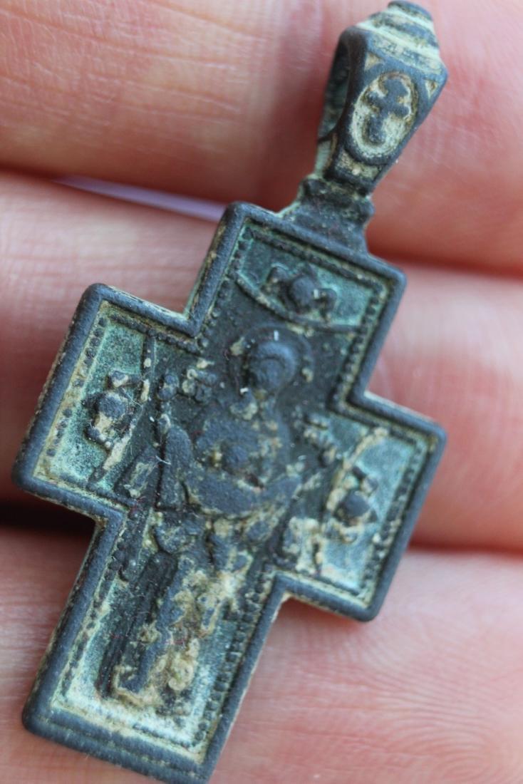 Medieval Bronze Cross Pendant Virgin Mary and Jesus