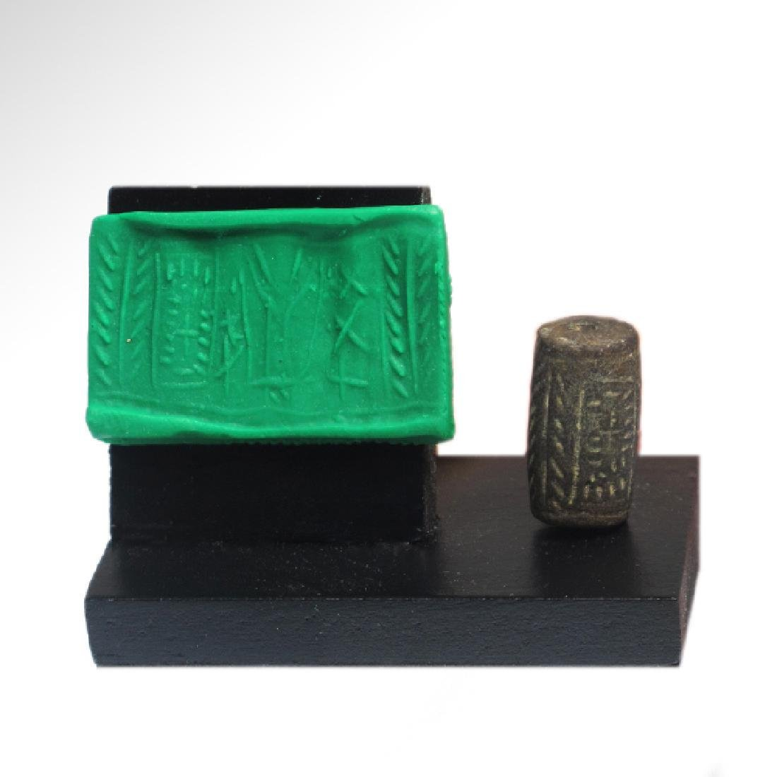 Western Asiatic Cylinder Seal With Trees and Figures