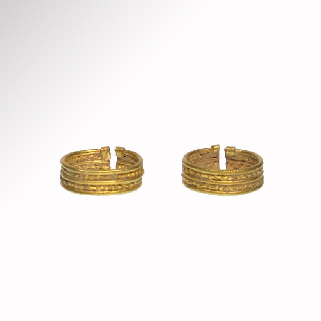 Pair of Greek Gold Hair Rings, C. 300 BC