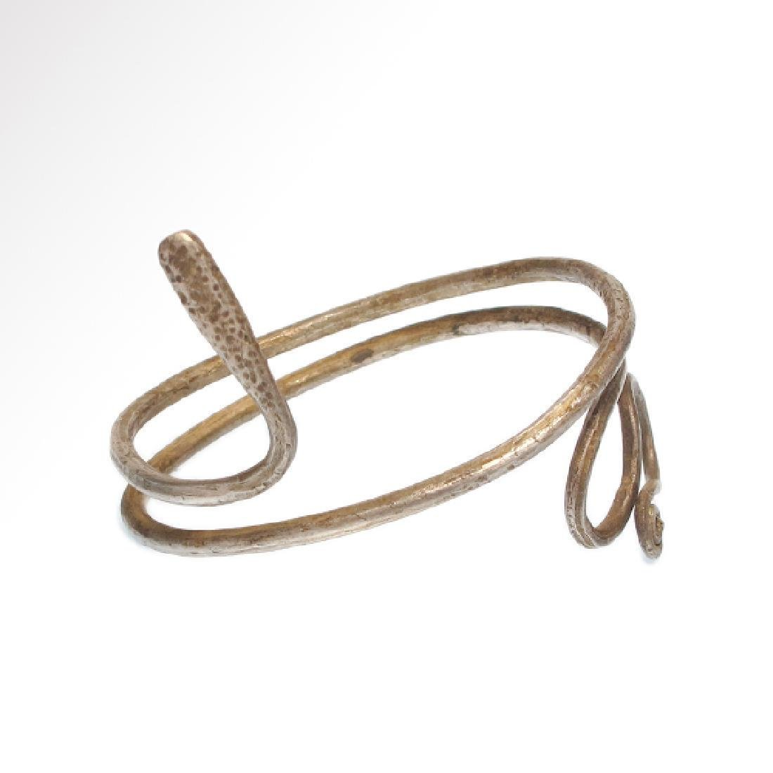 Roman Silver Snake Bracelet, C. 2nd Century AD
