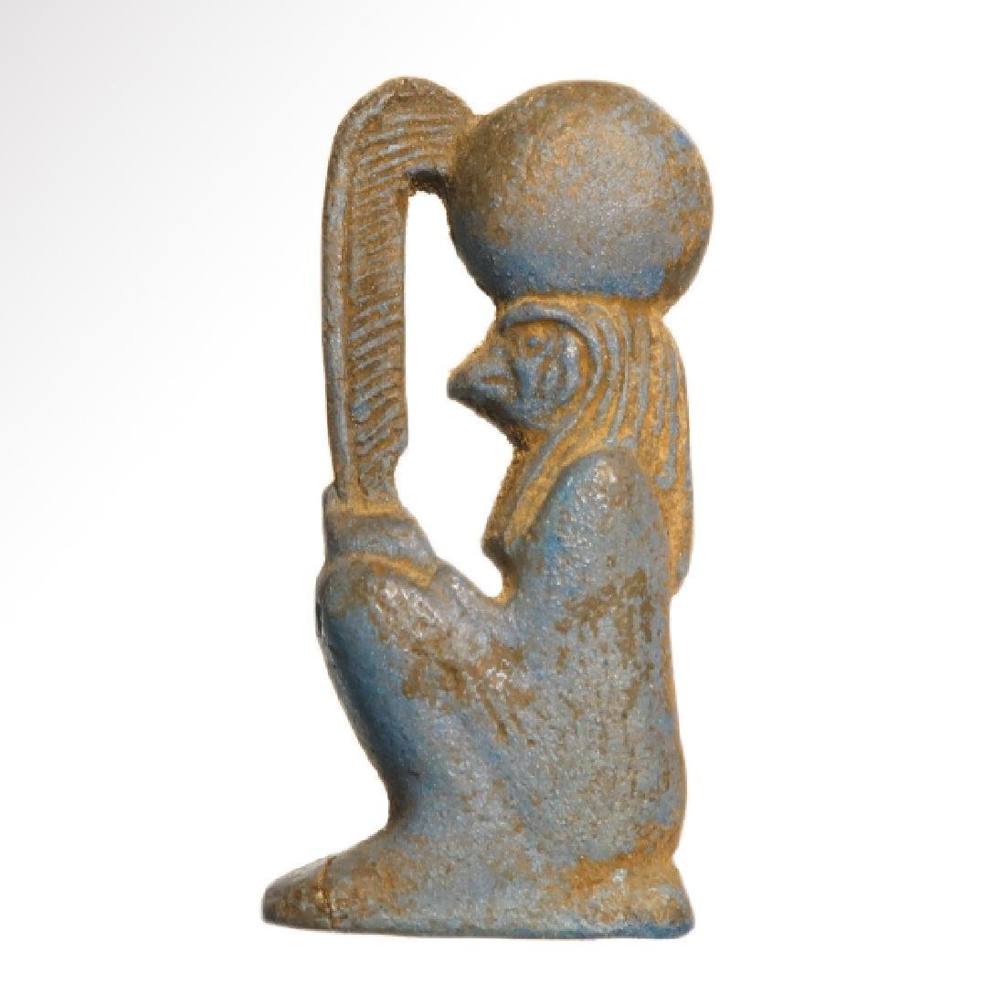Egyptian Faience Plaque of a Seated Falcon Horus