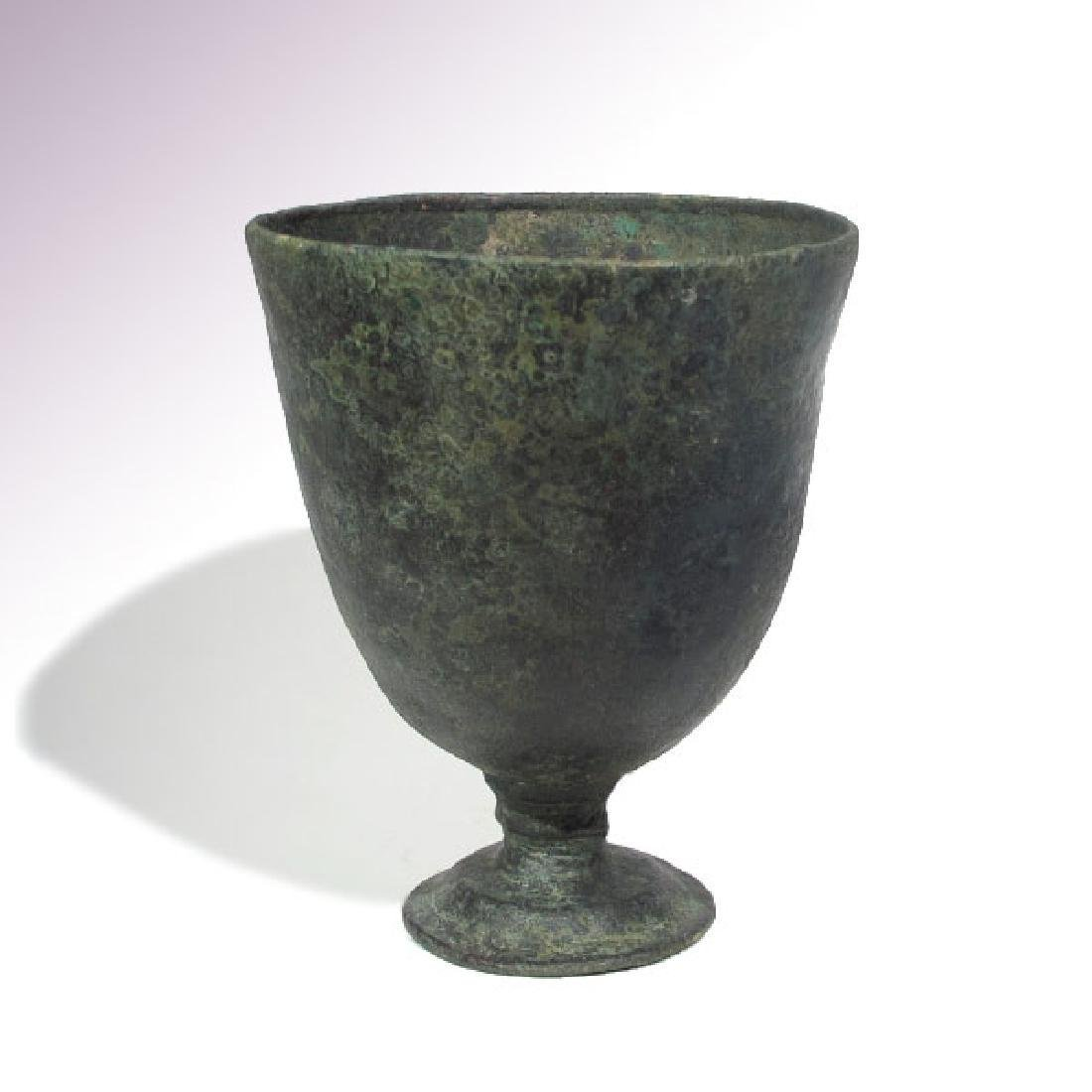 Elamite Large Bronze Stemmed Drinking Cup, 1800-1500 BC