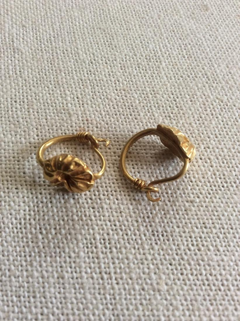 Ancient Bactrian Gold Earrings Pair
