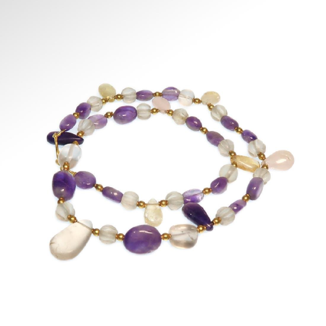 Roman Amethyst, Crystal and Gold Necklace, 2nd Cent AD