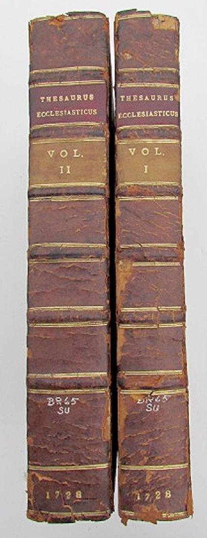 1728 Antique 2 Volumes Thesaurus Ecclesiasticus Leather