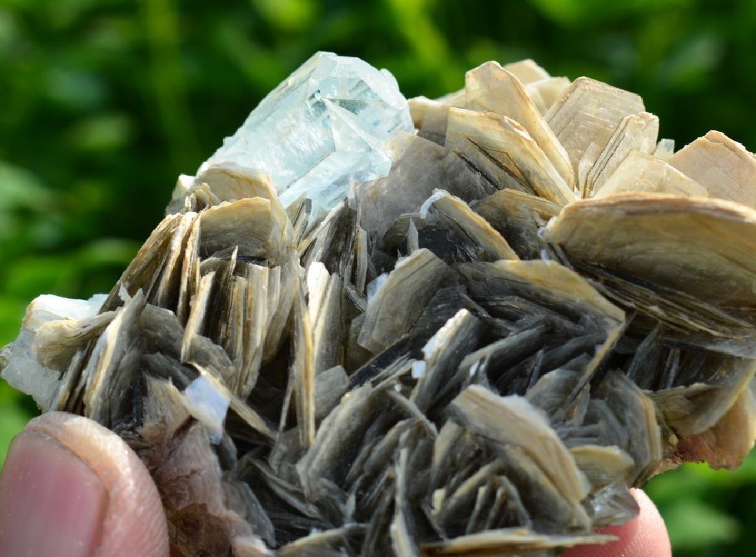 Natural Aquamarine Specimen with Mica