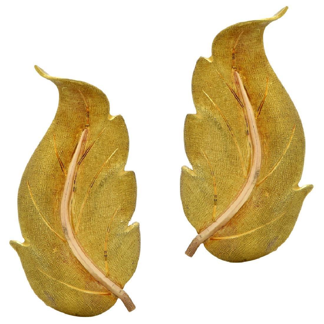 Buccellatti 18K Yellow Gold Leaf Earrings